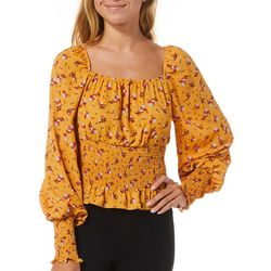 No Comment Juniors Floral Smocked Square Neck Top