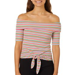 No Comment Juniors Striped Tie Front Off The Shoulder Top