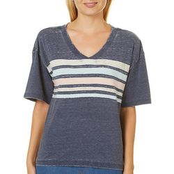 No Comment Juniors Washed Striped V-Neck T-Shirt