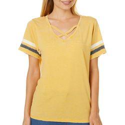 No Comment Juniors Crisscross Stripe Sleeve T-Shirt
