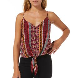 No Comment Juniors Mixed Stripe Button Down Sleeveless Top