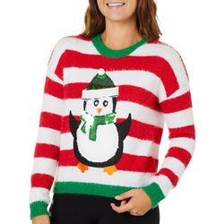 Derek Heart Juniors Striped Sequin Penguin Sweater