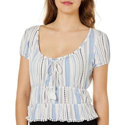 Derek Heart Juniors Striped Tassel Neck Babydoll Top