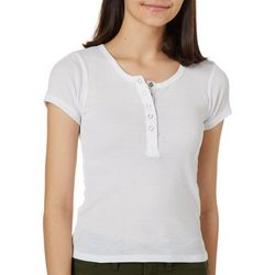 Derek Heart Juniors Solid Snap Button Placket T-Shirt