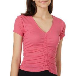 Derek Heart Juniors Solid Ruched Short Sleeve T-Shirt