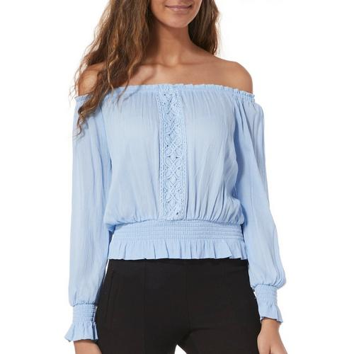 23593ffa0db Derek Heart Juniors Crochet Off The Shoulder Top