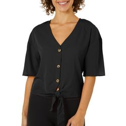 Derek Heart Juniors Cropped Button Down Tie Front Top
