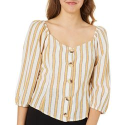 Derek Heart Juniors Cropped Striped Linen Top