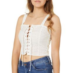 Derek Heart Juniors Cropped Lace-Up Eyelet Tank Top