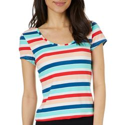 Derek Heart Juniors Cropped Wide Striped Strappy Back Top