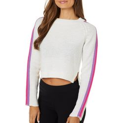 Derek Heart Juniors Cropped Knit Striped Shoulder Sweater