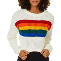 Derek Heart Juniors Cropped Knit Rainbow Stripe Sweater