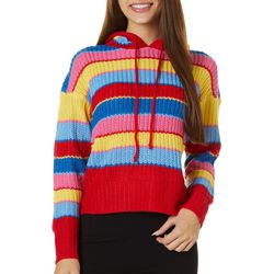 Derek Heart Juniors Knit Stripe Hooded Sweater