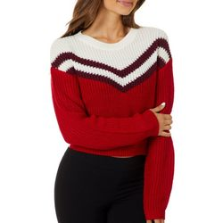 Derek Heart Juniors Cropped Colorblock Chevron Sweater