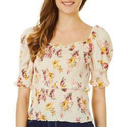 Derek Heart Juniors Short Sleeve Square Neck Ruffle Top