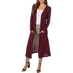 Derek Heart Juniors Solid Ribbed Long Sleeve Cardigan