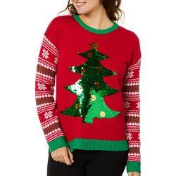 Derek Heart Juniors Magical Sequins Christmas Tree Sweater