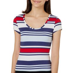 Derek Heart Juniors Cropped Stripe Strappy Back Top
