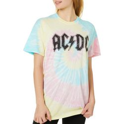 ACDC Juniors Logo Screen Print Tie Dye T-Shirt
