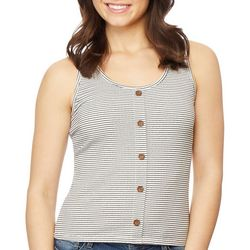 Wallflower Juniors Button Front Striped Tank Top
