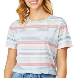 Wallflower Juniors Striped Short Sleeve T-Shirt