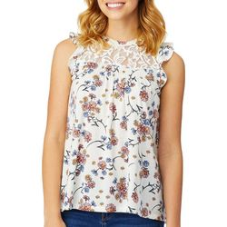Wallflower Juniors Floral Print Lace Yoke Ruffle Tank Top