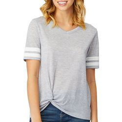 Wallflower Juniors Heathered Side Twist Sport Stripe Top