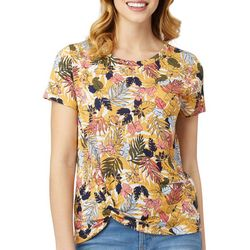 Wallflower Juniors Tropical Palm Leaf Floral Side Twist Top