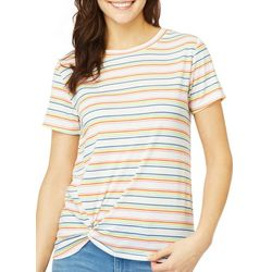 Wallflower Juniors Striped Side Twist Sport Stripe Top