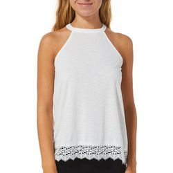 Wallflower Juniors Solid Lace Trim Halter Top
