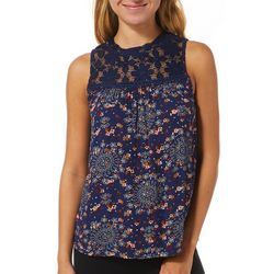 Wallflower Juniors Floral Lace Neckline Sleeveless Top