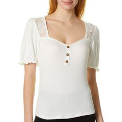 Almost Famous Juniors Lace Panel Top
