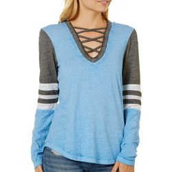 Almost Famous Juniors Hooded Lace-Up Long Sleeve Top