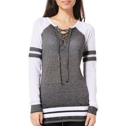 Almost Famous Juniors Athletic Striped Lace-Up Burnout Top