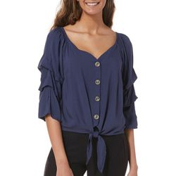 Cravefame Juniors Cropped Ruffled Tie Front Top