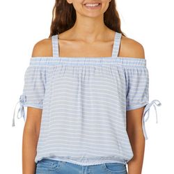 Almost Famous Juniors Striped Cold Shoulder Top