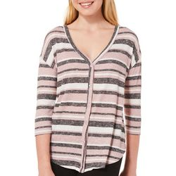 Almost Famous Juniors Striped Waffle Knit Button Down Top