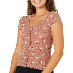 Almost Famous Juniors Floral Waffle Knit Button Down Top