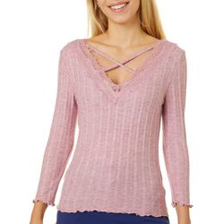 Almost Famous Juniors Solid Ribbed Lace Trim V-Neck Top