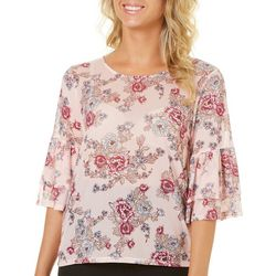 Almost Famous Juniors Floral Mesh Ruffle Sleeve Top