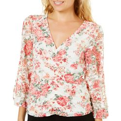 Almost Famous Juniors Floral Ruched Lace Top