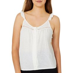 Almost Famous Juniors Solid Flutter Cropped Tank Top