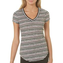 Almost Famous Juniors Athletic Striped Ribbed Knit Top