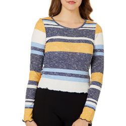 Almost Famous Juniors Cropped Heathered Stripe Top