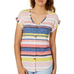 Almost Famous Juniors Stripe Knit Button Down Top
