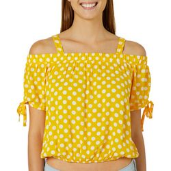 Almost Famous Juniors Cropped Polka Dot Cold Shoulder Top