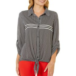 Almost Famous Juniors Striped Tie Front Roll Tab Top