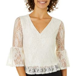 Almost Famous Juniors Ruched Lace Bell Sleeve Top