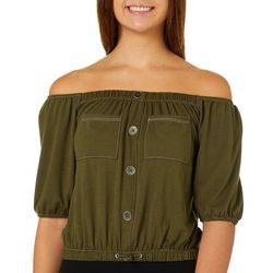Cravefame Juniors Solid Faux Button Off The Shoulder