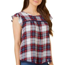 Almost Famous Juniors Plaid Ruffle Top